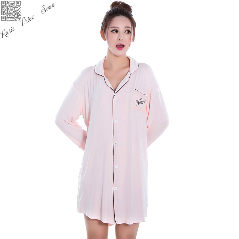 Buy summer fashion long sleeved cotton Long cotton sleep shirts