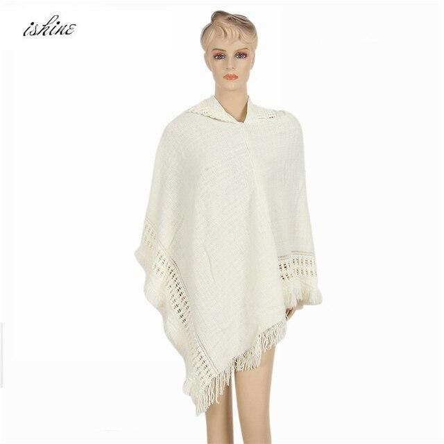 311a3151f5c9 Pas cher Automne De Mode Femmes Occasionnels Tricot Chauve-Souris Poncho  Écharpe À Capuche Blanc