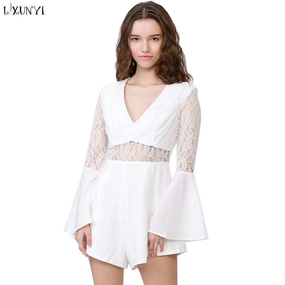 LXUNYI Summer Woman jumpsuit Sexy Clubwear Dark V-Neck Lace Patchwork Flare Sleeve Rompers Slim Playsuit Short Salopette femme