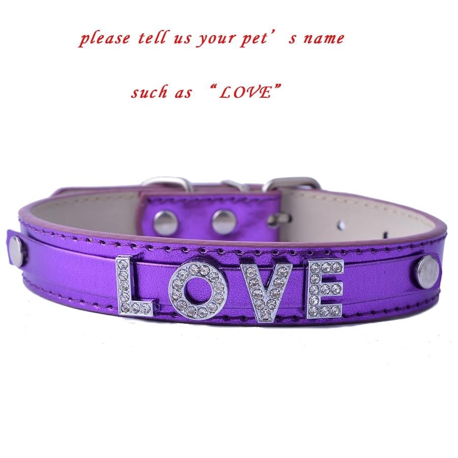 Бесплатный DIY Имя Персонализированные Ошейник Для Моды Кожаные Ошейники Для Маленьких Собак Индивидуальные Зоотоваров Красный Розовый Фиолетовый