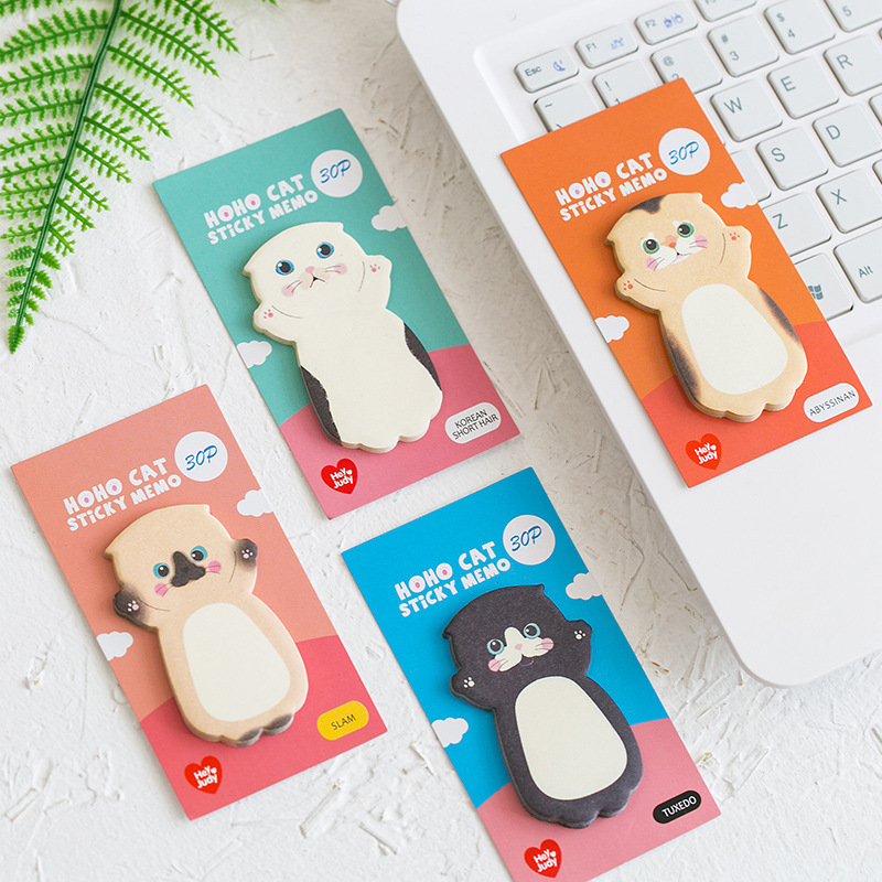 30 Pages Kawaii Cat Memo Pads Sticky Notes Message Paper Masking DIY Craft School Office Supply Stationery