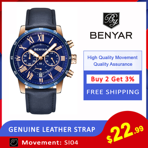 Image 2 - 2018 BENYAR Watches Men Luxury Brand Quartz Watch Fashion Chronograph Sport Reloj Hombre Clock Male hour relogio Masculino
