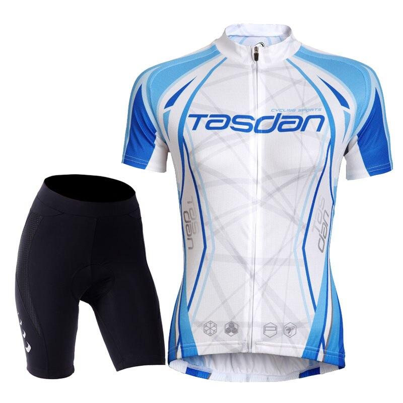 ФОТО Tasdan Womens Cycling Jerseys Set Short Sleeve Bike Bicycle Jerseys Suit Custom Cycling Jerseys & (Bib) Short Sets