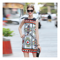 2018 Fashion Runway Dress Women S O Neck Sleeveless Luxury Playing Card Printed Jacquard Vintage Summer