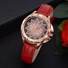 Розовое золото Для женщин Элегантные наручные часы Новая мода Повседневное женские часы горный хрусталь кожаный ремешок кварцевые часы Подарки для девочек часы