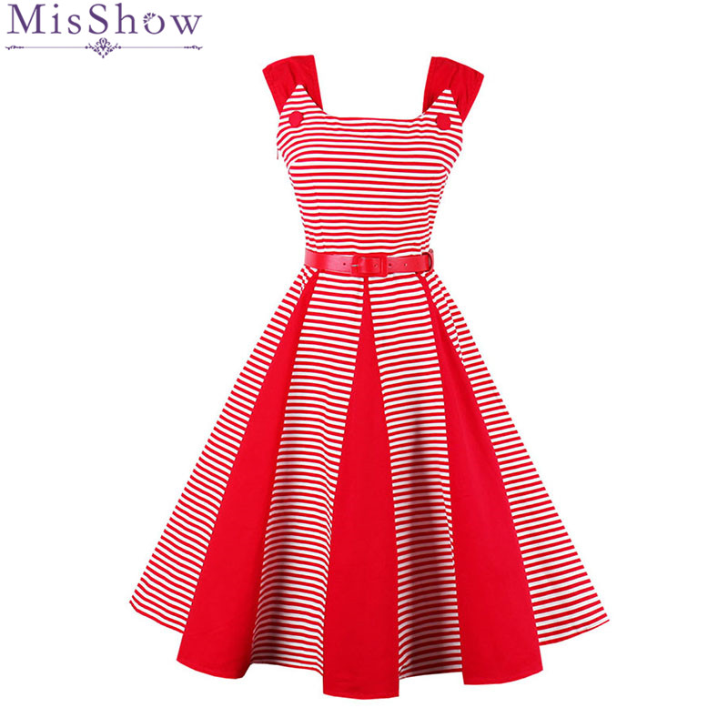 MisShow 2017 Women Summer Dress Elegant Party Dress With Blet Halter Rockabilly Robe Sexy Vintage Off Shoulder Red Striped