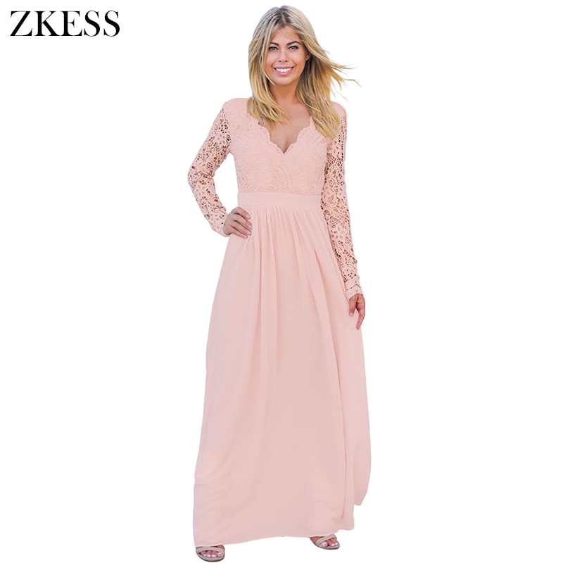 Zkess nuevo mujeres backless crochet Encaje Maxi vestido sexy V ...