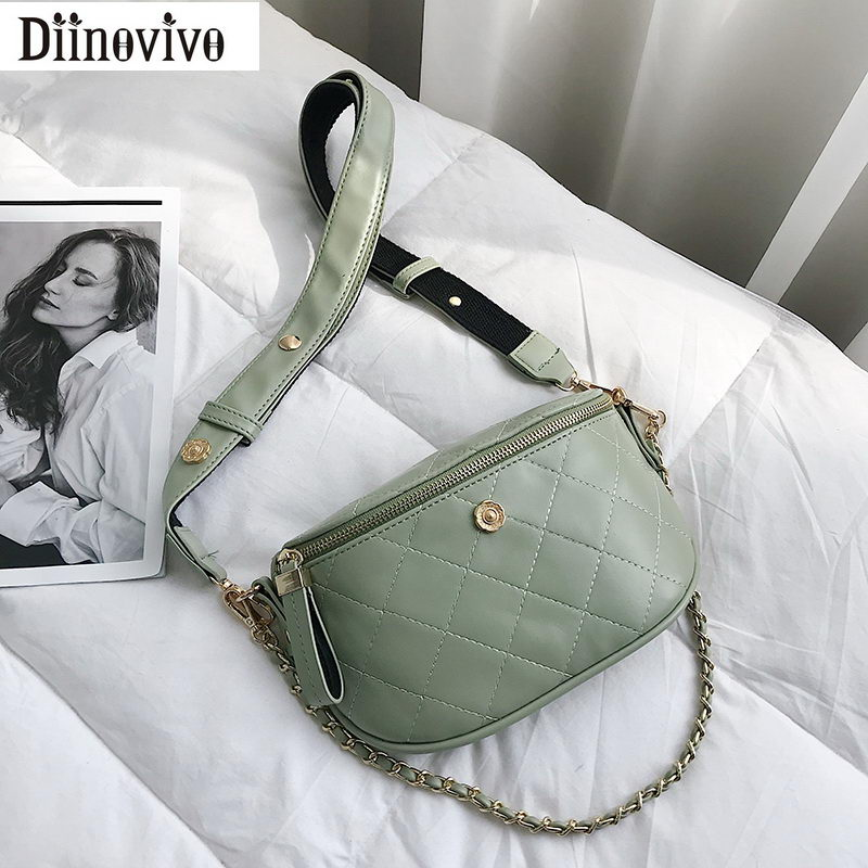 DIINOVIVO Luxury Flower Design Waist Bag Woman Fashion Quilted Female Bag Belt Fanny Pack Travel Handbag Shoulder Bags WHDV1088