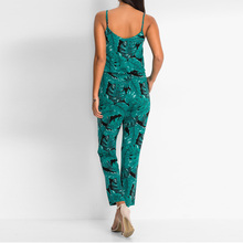 Green Leaf Printed Summer Beach Rompers Backless Women Jumpsuits Tight Long Pants Sexy V-neck Bandage Vintage Garment Playsuits