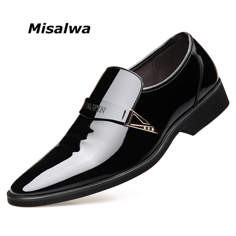 Misalwa Bright Shiny Upper Leather Dress Shoes Men Formal Business Shoes Slip On Without Shoelace Office Free Drop Shipping Formal Shoes Aliexpress