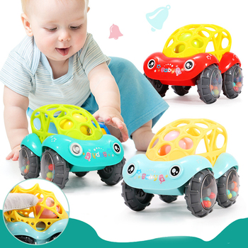 Baby Plastic Non-toxic Colorful Animals Hand Jingle Shaking Bell Car Rattles Toys Music Handbell For Kids Color Random