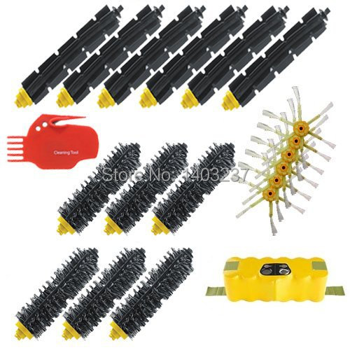 For iRobot Roomba 600 700 Series Includes: Battery 6 Beater Brushes 6 Bristle Brushes A Bristle/Beater Brush Cleaning Tool