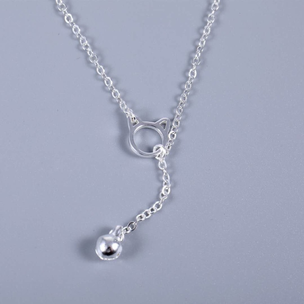 Heyluoke 2018 new design 925 sterling silver necklace Korean design of necklace Cats and Bells Personality necklace for women