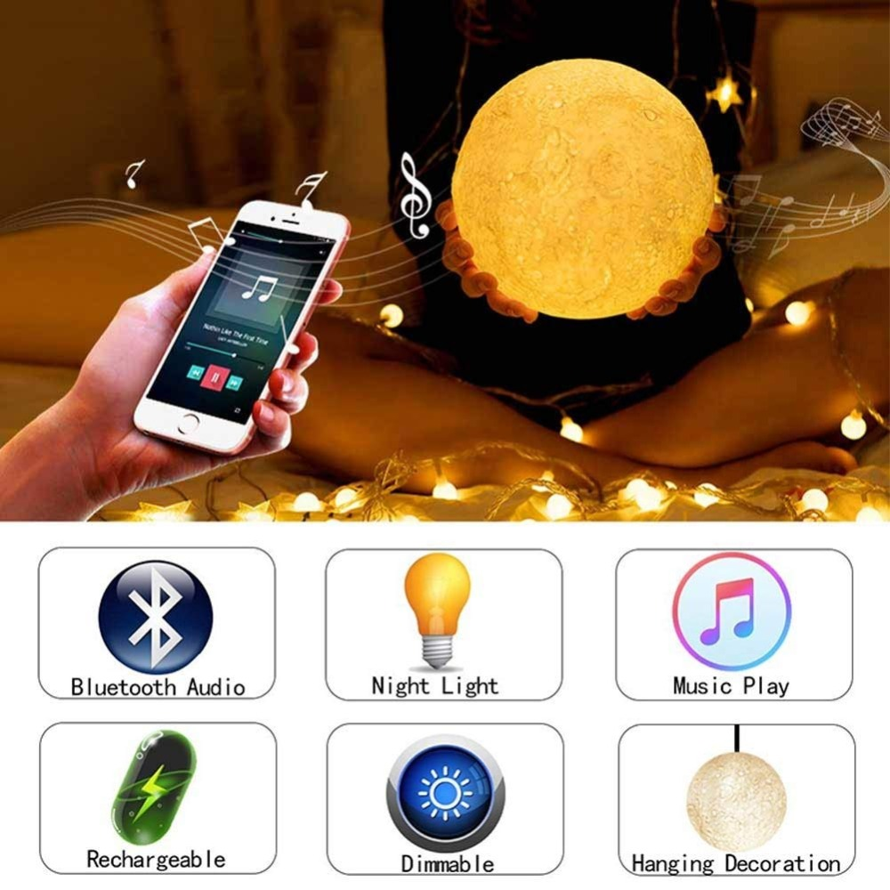 3D Print Moon Lamp Rechargeable Night Light RGB Color Change Touch Switch Bedroom 3D lunar Moon Lamp Home Decor Creative Gift magnetic floating levitation 3d print moon lamp led night light 2 color auto change moon light home decor creative birthday gift