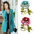 Fashion Womens Rhinestone Rose Flower Brooch Pin Wedding Party Jewelry Gifts S239