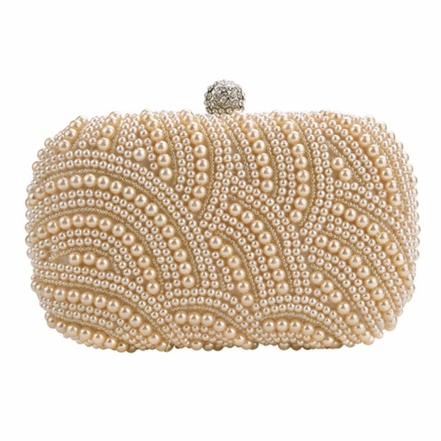Oval Shaped Pearl Beaded Evening Handbag Women Clutch Bag Elegant