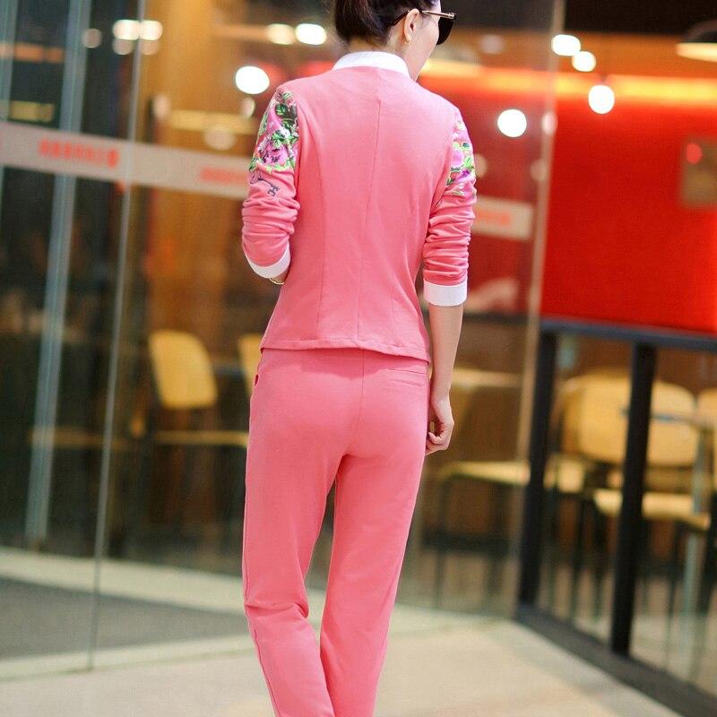 DHfinery 3 piece set femmes casual pleine manches bleu rose survêtement Crop Top + gilet + pantalon trois pièces ensemble plus la taille M-5xl BS5352 - 6