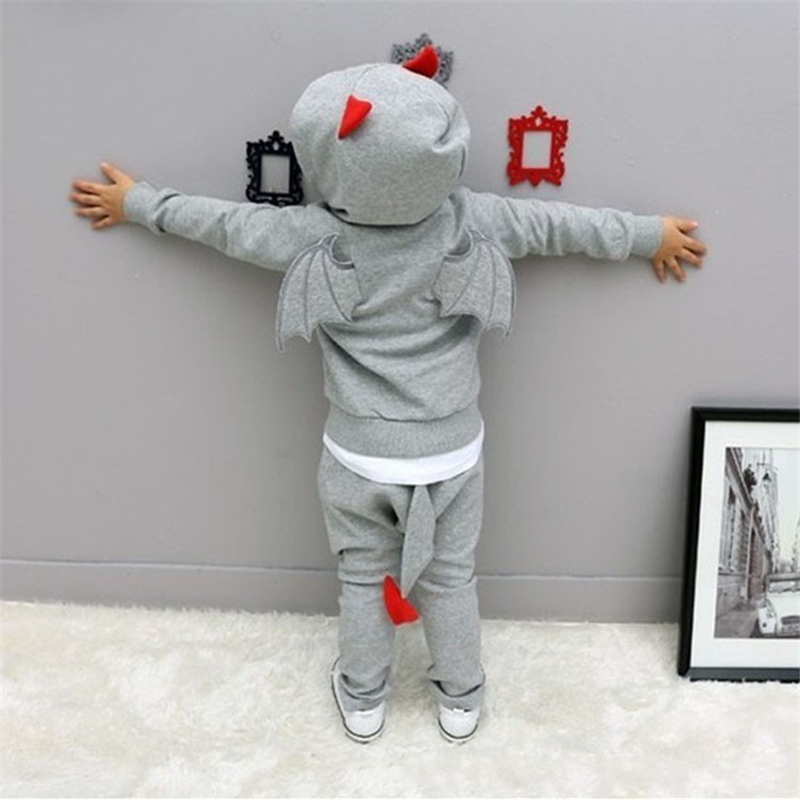 Halloween Costume Gray & Brown Costume Chaos Little Devil Kids Set Baby Spring Cosplay ...