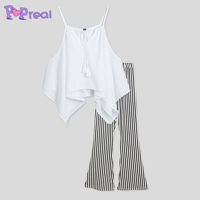 PopReal Contrast Stripes Cold Shoulder Matching Outfits Stripes mommy and me clothes off shoulder baby girl clothes t shirt pant