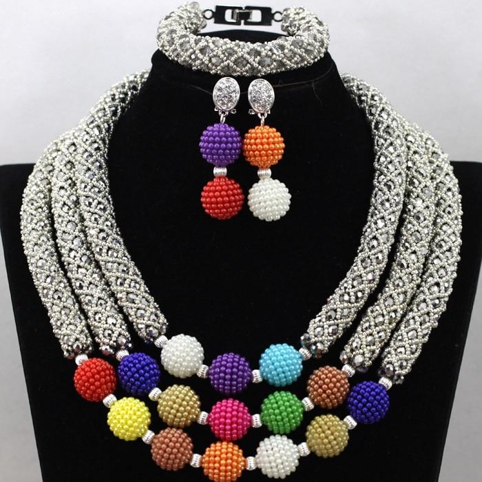 Здесь продается  Wholesale 3 Layers Silver African Beads Jewelry Set Colored Party Women Nigerian Wedding African Plastic Beads Free Ship QW652  Ювелирные изделия и часы