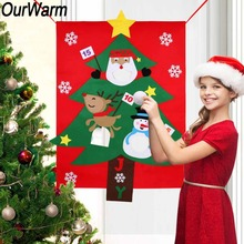 OurWarm Felt Christmas Tree Hanging Snowman Santa Claus Outdoor Kids Gift Toss Game Christmas New Year Party Decoration 130x97cm