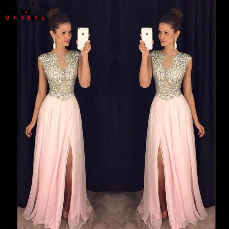 Custom Size A-line Slit Leg Crystal Beaded Sequins Chiffon Sexy Luxury Long Formal Evening Gowns 2018 New Vestido De Festa LE03