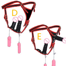 New! 2in1 Electric Strap On Dildo+Anal Plug Wearable Double-headed Harness Vibrators + Penis  Sex Game Toy for Women C3-2-31