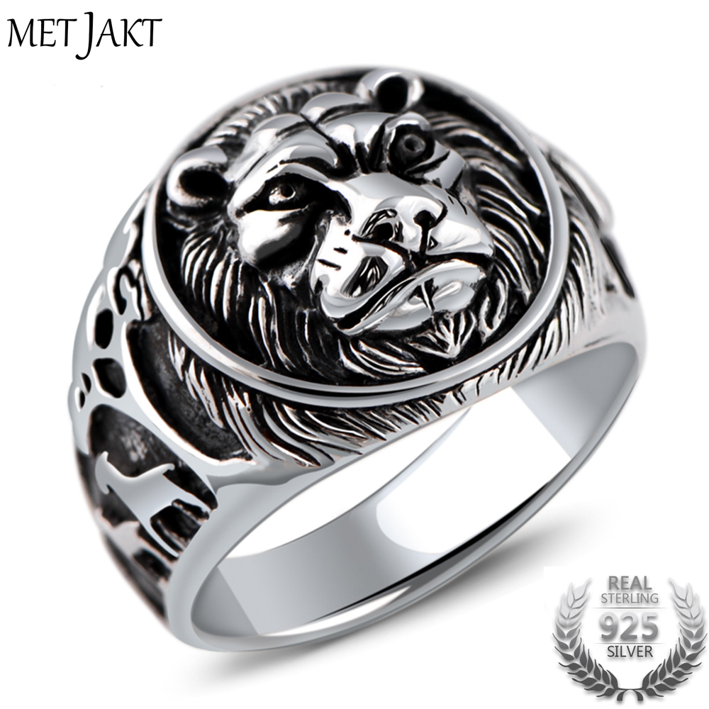 MetJakt Punk Rock Jewelry Domineering Lion Head Ring Solid 925 Sterling Silver Rings for Men Vintage Thai Silver Jewelry delicate lion head shape ring for men