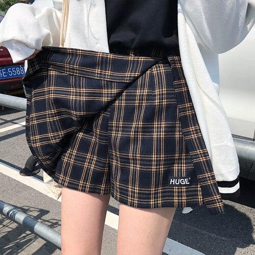 Casual Basic Fashion All Match Plaid Vintage Irregular High Waist College Wind 2018 New Fashion Female