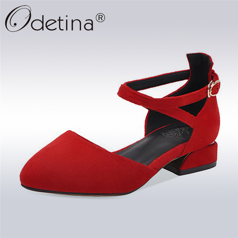 Odetina Genuine   Leather     Suede   New Fashion Women Buckle Cross Ankle Strap D'orsay Flats Pointed Toe Dress Shoes Ballet Flat Shoes