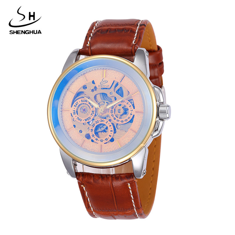 2017 SHENHUA Watches Classic Mens Gold Automatic Mechanical Watch Self-Winding Analog Skeleton Brown Leather Man Wristwatch цена и фото