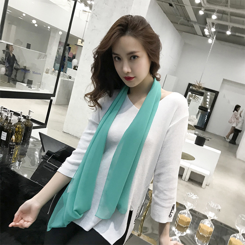 Luxury Long Soft Thin Wrap Women Chiffon Scarf Summer  Beach Silk Scarves Foulard Pure Color Hijab Scarf Thin Shawls And Wraps(China)