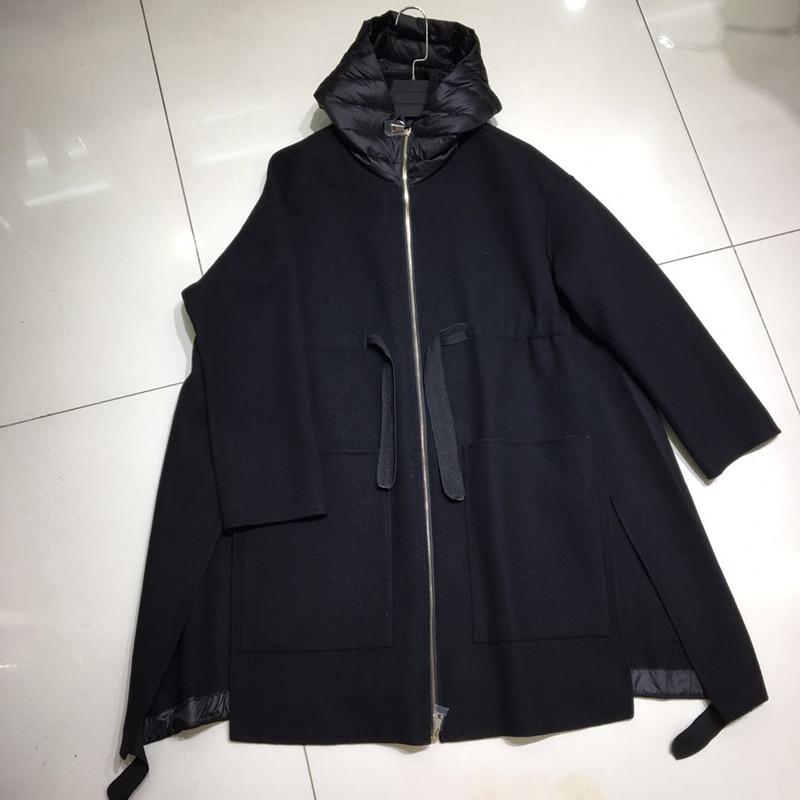 Kadın Giyim'ten Yün ve Karışımları'de 2019 Yeni Sonbahar/Kış Kadın yün paltolar Uzun Sıcak Palto Zarif Saf Renk Kapşonlu Gevşek Bayan Ceket'da  Grup 2