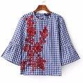 Nuevas Adquisiciones Bordado Mujeres Camisa de La Blusa de Impresión Blusas Camisas Mujeres de La Camisa Blusa Blusas Femininas Blusa de Algodón de La Vendimia # Z38