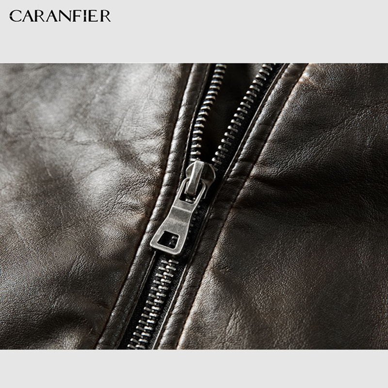 CARANFIER Mens Leather Jackets High Quality Winter Vintage Motorcycle Overcoat Stand Collar Zipper Pockets Solid Coats Outerwear