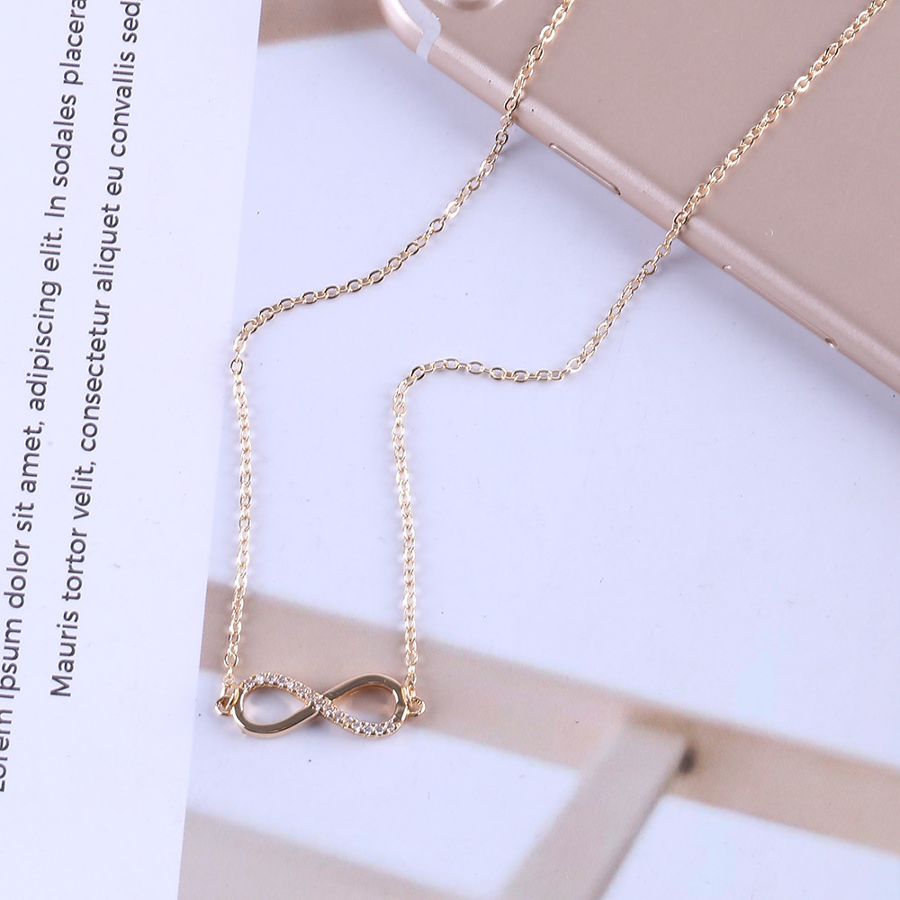 Trendy Crystal Infinity Choker Necklace Chain 2 Colors Women Fashion Jewelry