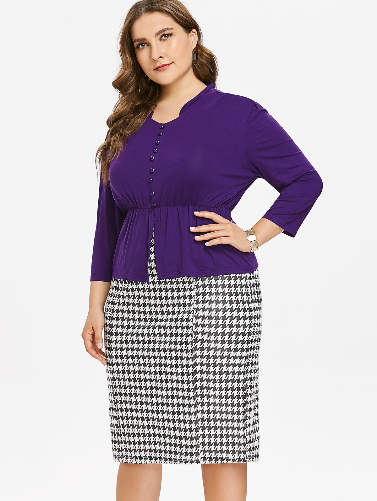 fa10cb9d5d Wipalo Plus Size Button Insert Top And Houndstooth Print Bottom Tw...