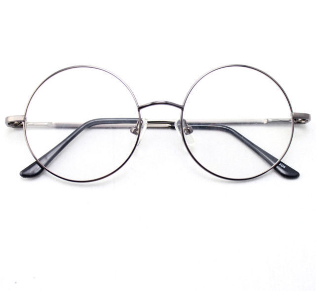 443cda0f65f2e 46mm Size Oversized Retro Vintage Harry Potter Style Round Eyeglass Frames  Black Gold Silver Gun Grey Optical RX-in Eyewear Frames from Apparel  Accessories ...