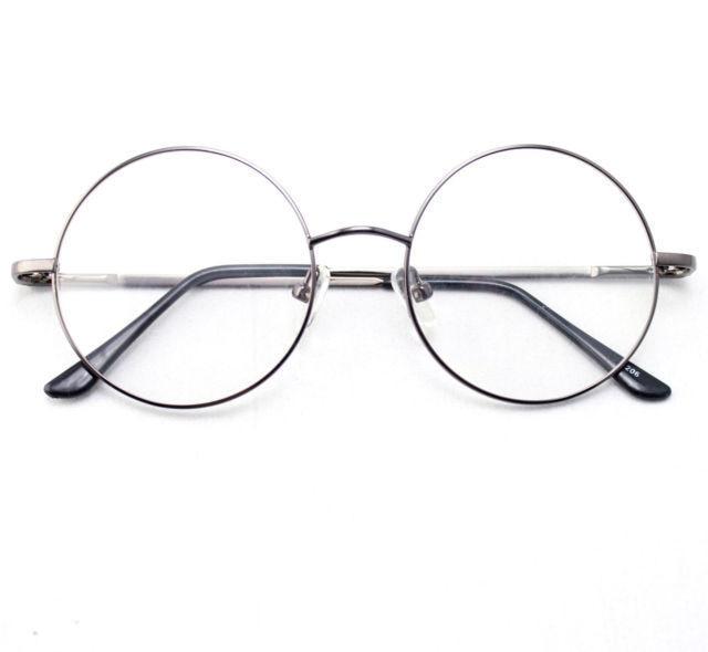 7cbd5d411 46mm Size Oversized Retro Vintage Harry Potter Style Round Eyeglass Frames  Black Gold Silver Gun Grey Optical RX-in Eyewear Frames from Apparel  Accessories ...