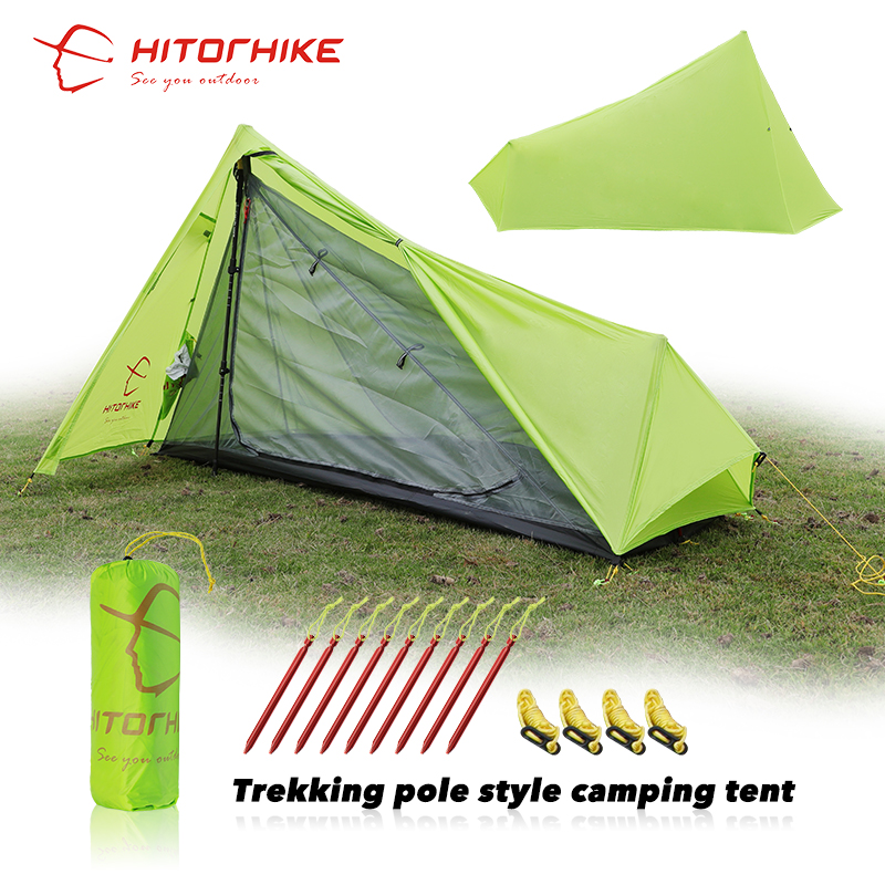 HITORHIKE 2 Person Oudoor Ultralight Camping Tent 3 Season Professional 15D Silnylon Rodless Tent 800G Easy Tent Set Up By Pole 995g camping inner tent ultralight 3 4 person outdoor 20d nylon sides silicon coating rodless pyramid large tent campin 3 season