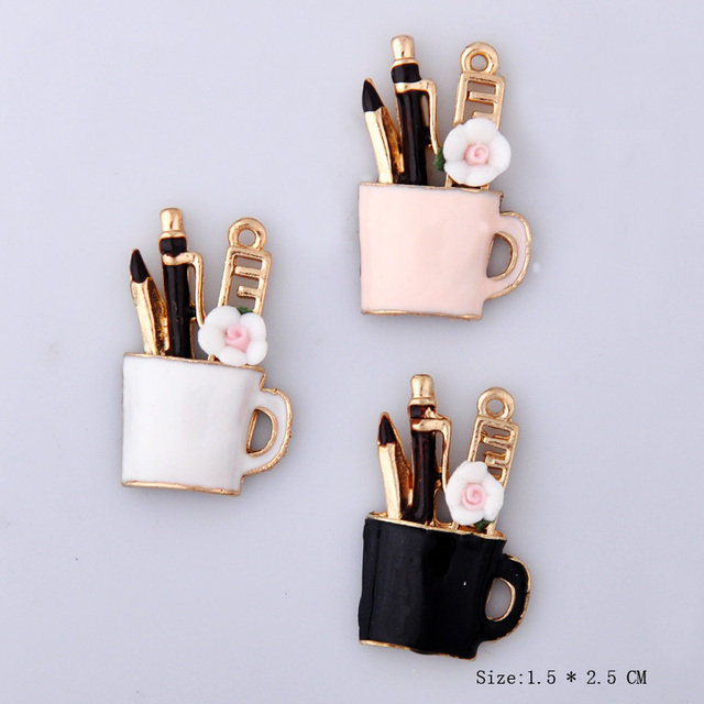 10pcs 15*25mm DIY Fashion alloy enamel Pen cup charms for bracelet, metal dangle pencil cup pendants earring jewelry making