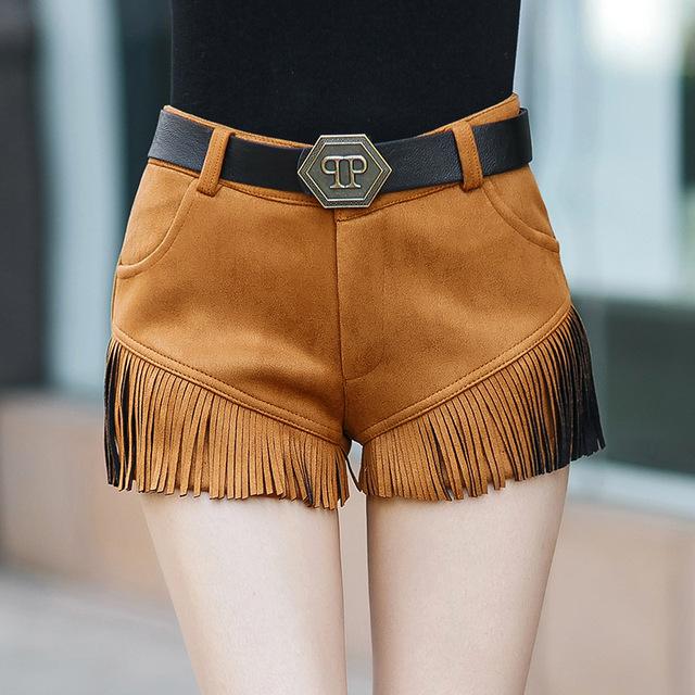 Plus Size 2016 outono inverno europeu mulheres Suede Bootcut calças curtas cinto de moda Casual Tassel magros Shorts cáqui preto KZ016