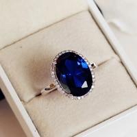Fashion White Gold Color Oval Dove Egg Shape Royal Blue Stone Ring Wedding Engagement Luxury Women