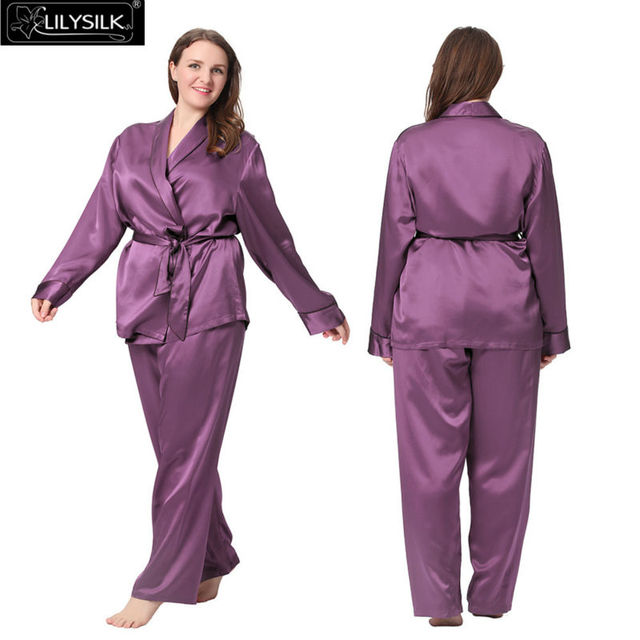 9cc17475e1 Lilysilk 100% Silk Pyjamas for Women Plus Size 22 Momme Long Luxurious Robe  Sexy With