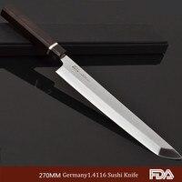 10.5'' Japanese Sakimaru Takohiki Sashimi Sushi knife Fish Filleting Slicer Germany 1.4116 Steel chef knife with Ebony handle 6W