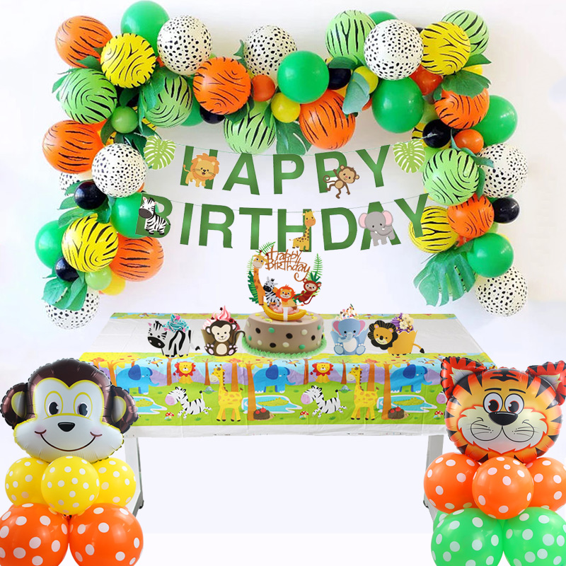 Image 2 - Jungle Party Animal Tableware Green Number Balloons Cupcake Toppers Wild One First Birthday Kids Baby Shower Safari Party Supply-in Party DIY Decorations from Home & Garden