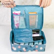 Aosbos Women Waterproof Cosmetic MakeUp Bag Nylon Zipper Tra