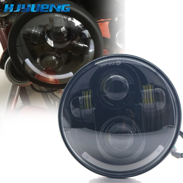 """5.75"""" Projector Angle smile Headlamp Bulb Halo High/Low Beam 5.75inch for Harley Davidson Motorcycles Driving Light"""