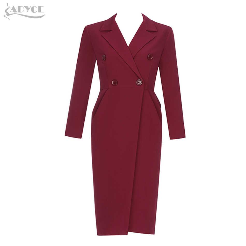 Adyce 2019 春の新作女性スリム長袖ファッションクラブトレンチコートセクシーな V ネックワイン赤ダブルブレスト有名人パーティーコート