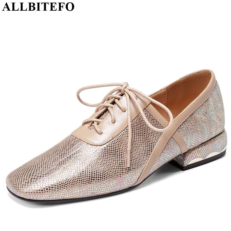 ALLBITEFO Square Heel Genuine Leather Lace Up High Heel Shoes Casual Girl High Quality Women Heels New Spring Autumn High Heels